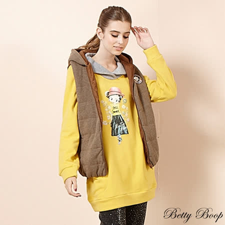 【Betty Boop貝蒂】配色翻領口袋拼大圖磨毛長版上衣(共二色)