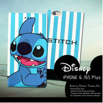 迪士尼授權正版 iPhone 6S Plus I6S+ 5.5吋 潮流條紋磁力皮套(微笑史迪奇)