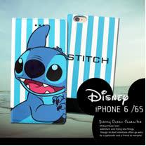 迪士尼授權正版 iPHONE 6 / 6s i6s 4.7吋 潮流條紋磁力皮套(微笑史迪奇)