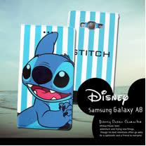 迪士尼授權正版 Samsung Galaxy A8 A800YZ  潮流條紋磁力皮套(微笑史迪奇)