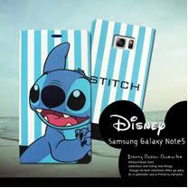 迪士尼授權正版 Samsung Galaxy Note5 N9208  潮流條紋磁力皮套(微笑史迪奇)