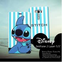 迪士尼授權正版 ASUS Zenfone 2 laser 5.5吋 ZE550KL  潮流條紋磁力皮套(微笑史迪奇)
