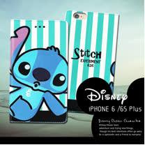 迪士尼授權正版 iPhone 6S Plus I6S+ 5.5吋 潮流條紋磁力皮套(嘟嘴史迪奇)