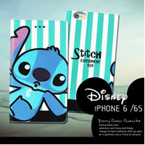 迪士尼授權正版 iPhone6 / 6s i6s 4.7吋 潮流條紋磁力皮套(嘟嘴史迪奇)