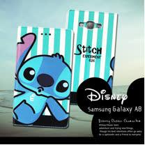 迪士尼授權正版 Samsung Galaxy A8 A800YZ  潮流條紋磁力皮套(嘟嘴史迪奇)