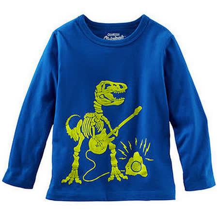 Carter's/OshKosh B'gosh 美國童裝 恐龍吉他 純棉T恤 長袖 藍色 12M OK0008