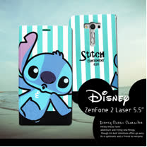 迪士尼授權正版 ASUS Zenfone 2 laser 5.5吋 ZE550KL  潮流條紋磁力皮套(嘟嘴史迪奇)