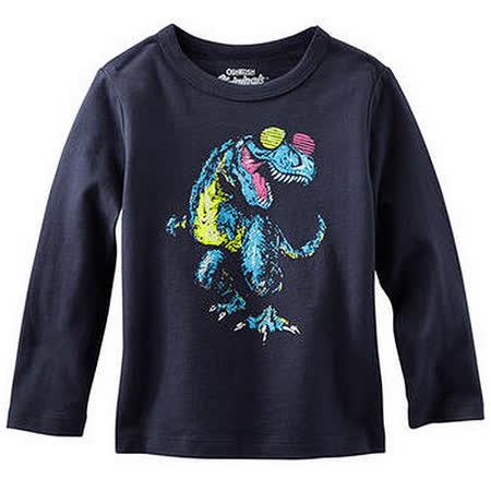 Carter's/OshKosh B'gosh 美國童裝 彩色恐龍 純棉T恤 長袖 深藍色 12M OK0014