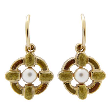 CHANEL 金屬寶石掛式耳環(琥珀)