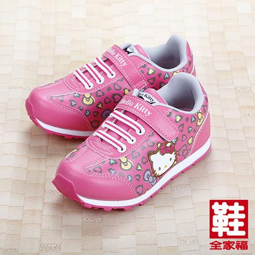 ^(大童^) Hello Kitty MIT豹紋慢跑鞋 桃 鞋全家福