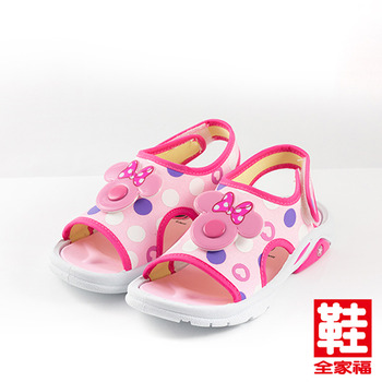 (小童) Disney 米妮大臉涼鞋 粉 中小童款 鞋全家福