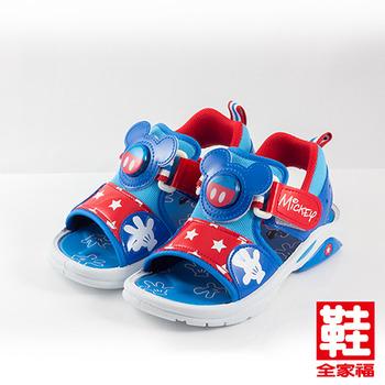 (中童) Disney 米奇LED涼鞋 藍 鞋全家福