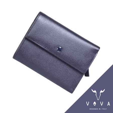 VOVA 高第系列14卡透明窗拉鍊零錢袋水波紋中夾(珠光紫)VA105W023VIO