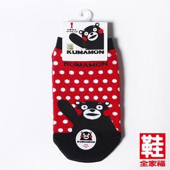 熊本熊 卡通直版童襪 紅底白點 鞋全家福