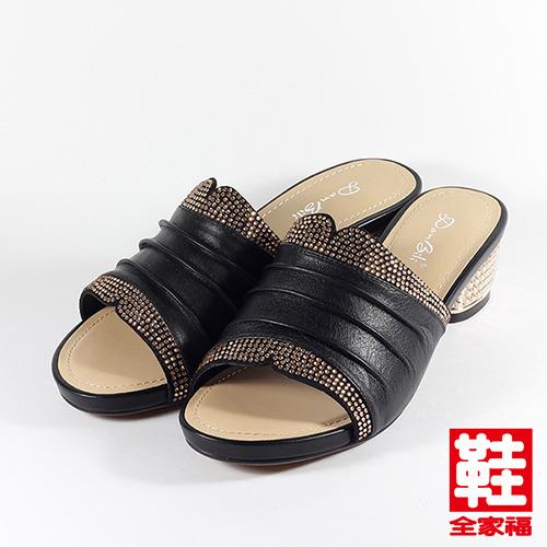 ^(女^)Danbili 羊皮水鑽金屬跟拖鞋 黑 鞋全家福