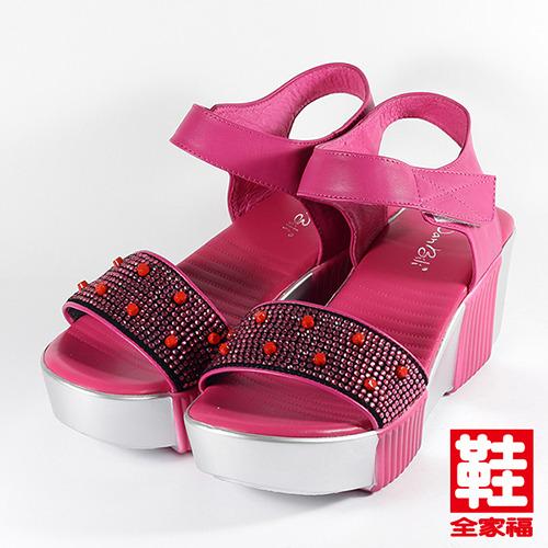 女  Danbili 珠飾寬版厚底涼鞋 梅紅 鞋全家福