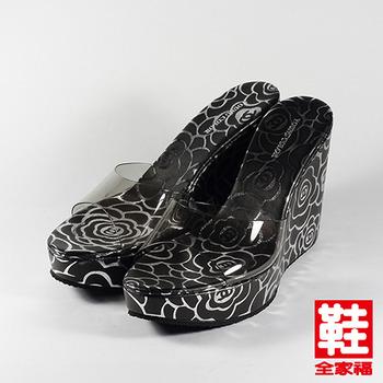(女) YOUNG COLOR 玫瑰果凍楔型拖鞋 黑玫瑰 鞋全家福