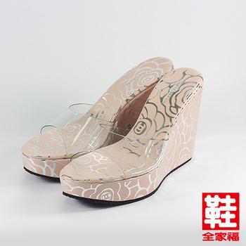 (女) YOUNG COLOR 玫瑰果凍楔型拖鞋 粉玫瑰 鞋全家福