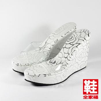 (女) YOUNG COLOR 玫瑰果凍楔型拖鞋 白玫瑰 鞋全家福