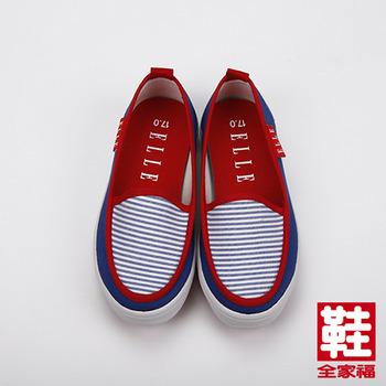(中童) ELLE 海洋風帆布鞋 藍白  鞋全家福