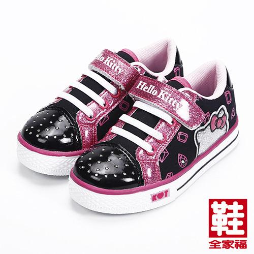 (中童) HELLO KITTY 黏帶側燈板鞋 黑 鞋全家福