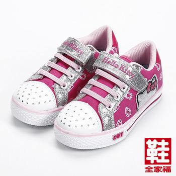 (中童) HELLO KITTY 黏帶側燈板鞋 粉 鞋全家福
