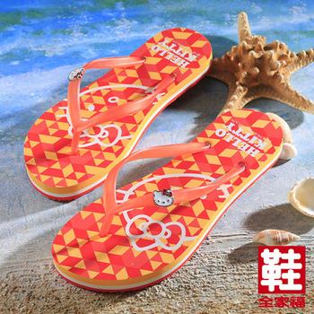 (女) Hello Kitty 繽紛幾何圖形凱蒂貓夾腳拖鞋  橘   鞋全家福