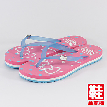 (女) Hello Kitty 粉嫩馬卡龍色系圓點夾腳拖鞋 桃  鞋全家福