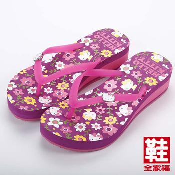 (女) Hello kitty繽紛花朵厚底夾腳人字拖鞋 紫色 鞋全家福