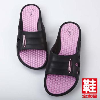 (女) ROBERTA 超輕顆粒按摩拖鞋 黑 鞋全家福