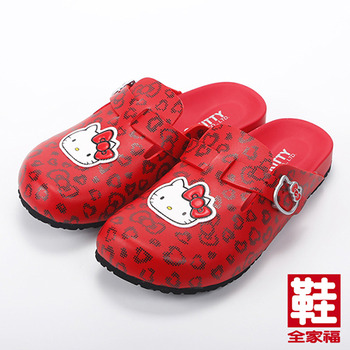 (女) HELLO KITTY 豹紋風休閒拖鞋 紅 鞋全家福
