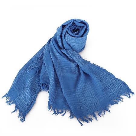 ARMANI COLLEZIONI 格紋自然壓皺薄圍巾/披肩-藍色
