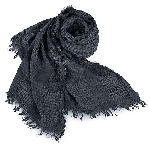 ARMANI COLLEZIONI 格紋自然壓皺薄圍巾/披肩-灰色