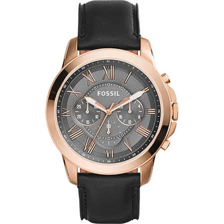 FOSSIL 都會雅爵三眼計時腕錶-玫瑰金/46mm FS5085