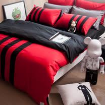 OLIVIA《 REMIX2 紅X黑 》特大雙人床包枕套三件組