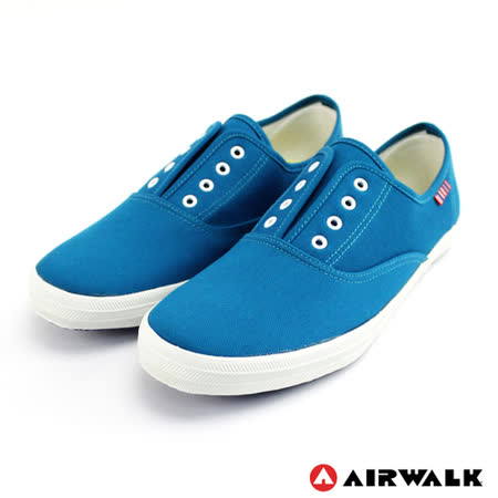 AIRWALK(女) - 帆布鞋 鬆緊帶 輕柔純棉帆布鞋 - 藍(品特)