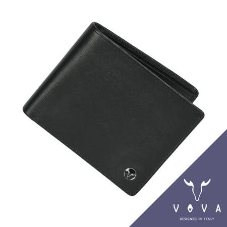 VOVA 高第系列8卡水波紋短夾(黑色)VA105W002BK