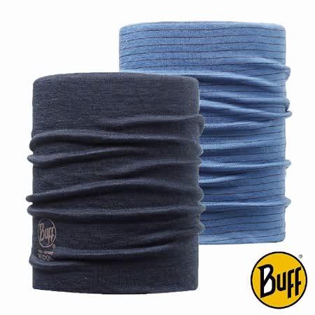 BUFF 藍紋 美麗諾羊毛雙面保暖領巾