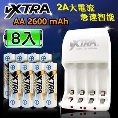 VXTRA 新經濟型2A大電流急速智能充電器+3號高容量2600mAh低自放電池(8顆入)