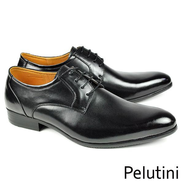 ~Pelutini~ 尖頭素面德比鞋 黑色^(7962~BL^)