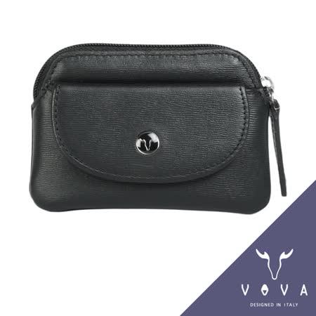 VOVA 高第系列水波紋拉鍊零錢包(黑色)VA105W014BK