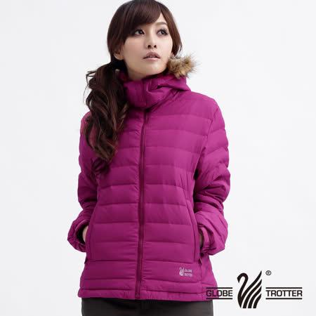 【遊遍天下】女款JIS90%羽絨連帽防風防潑水輕量羽絨外套A005玫紅
