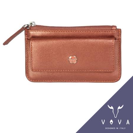 VOVA 高第系列水波紋拉鍊零錢包(珠光粉紅)VA105W028RD