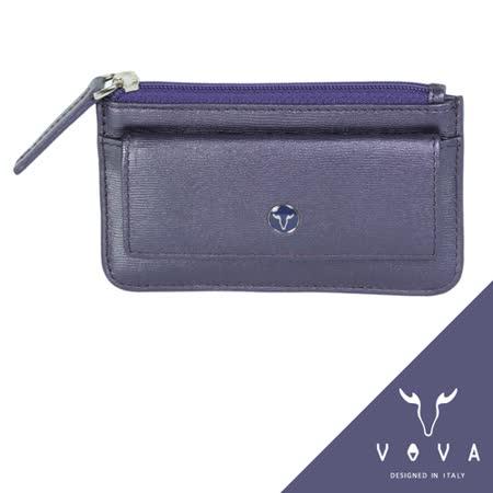 VOVA 高第系列水波紋拉鍊零錢包(珠光紫)VA105W028VIO