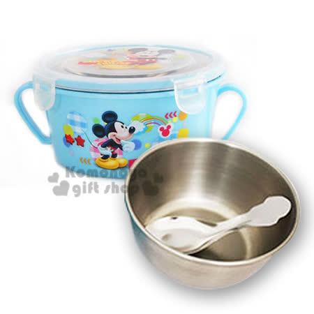 〔小禮堂〕迪士尼 米奇 不鏽鋼雙把手隔熱碗《淺藍.站姿.雲朵.450ml》附匙.蓋