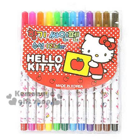 〔小禮堂韓國館〕Hello Kitty 彩色筆組《12色.紅點點.拿蘋果圖》透明塑膠裝