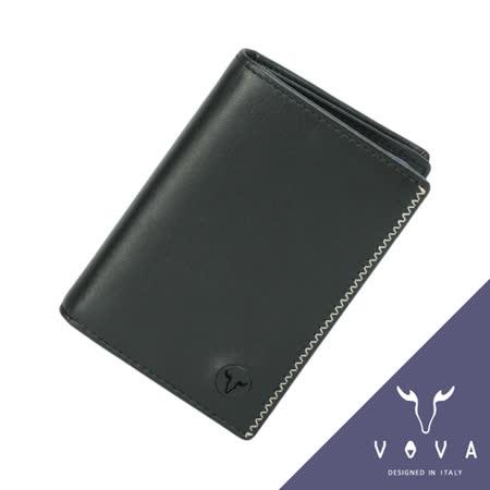 VOVA 旋律系列3卡素面軟皮名片夾(黑色)VA103W010BK