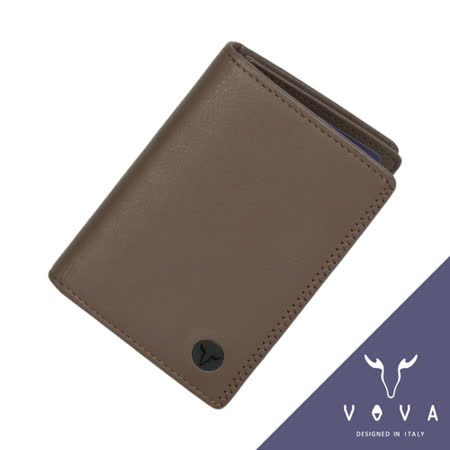 VOVA 旋律系列3卡素面軟皮名片夾(可可色)VA103W010CO