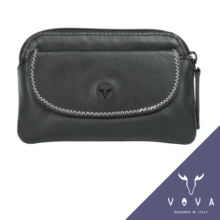 VOVA 旋律系列素面軟皮拉鍊零錢包(黑色)VA103W014BK