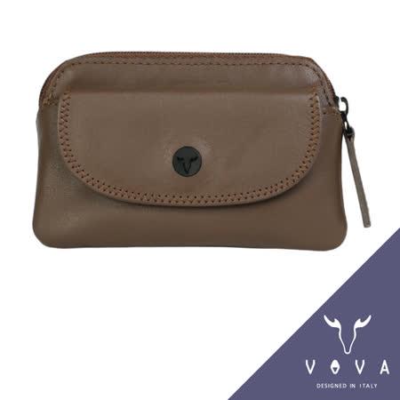 VOVA 旋律系列素面軟皮拉鍊零錢包(可可色)VA103W014CO